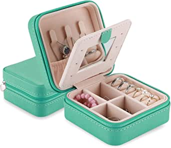 ProCase Small Jewelry Box Organizer, Faux Leather Portable Mini Travel Jewelry Trays Display Storage Case with Mirror for Necklaces Bracelets Earrings Rings