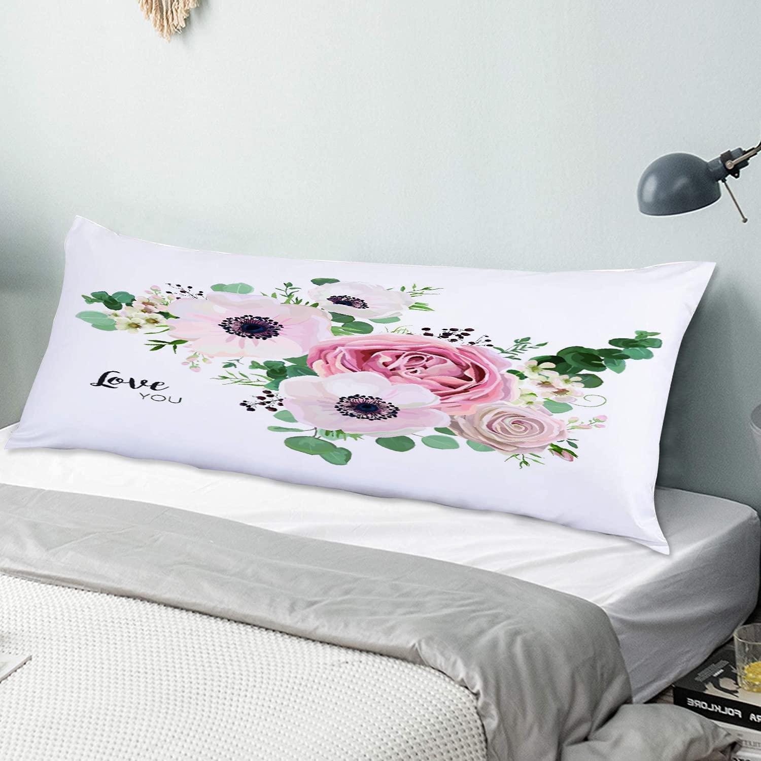 Personalized Long Pillowcase Soft Cozy,Garden Flower Lavender Pink Peach Rose White Anemone Wax Green Eucalyptus,Body Pillow Cover sham with Hidden Zipper Closure Home Decor Bedroom Sofa,54 x 20in