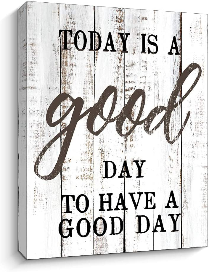 """Motivational and Inspiring Wall Art Prints- Today is A Good Day - Rustic Artwork Decoration for Home and Office, Farmhouse Décor Gallery Wrap, 12""""x15"""" (12x15 inch,White)"""
