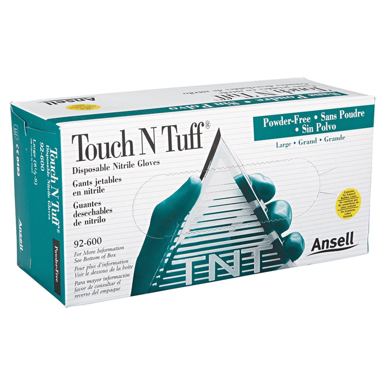 Ansell 92-600-8.5-9 Touch N Tuff Disposable Gloves, Powder Free, Nitrile, 4 mil, Size 8.5 - 9, Green by Ansell