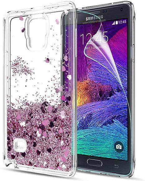LeYi Compatible con Funda Samsung Galaxy Note 4 Silicona Purpurina Carcasa con HD Protectores de Pantalla,Transparente Cristal Bumper Telefono Gel TPU Fundas Case Cover Para Movil Note 4 ZX Oro Rosa: Amazon.es: