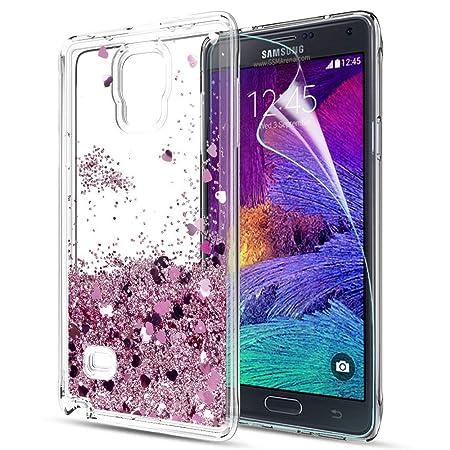 LeYi Hülle Galaxy Note 4 Glitzer Handyhülle mit HD Folie Schutzfolie,Cover TPU Bumper Silikon Flüssigkeit Treibsand Clear Sch