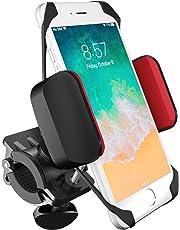 boldR Soporte de Celular para Bicicleta, Motocicleta y Carreola. Base de Celular Universal para Cualquier Bici o Moto. Compatible con iPhone 5/ 6 / 6 plus / Galaxy 5 / 6 / 7 / 7 Edge, o cualquier otro smartphone o Celular. BikeGrip. Color Negro con Rojo.