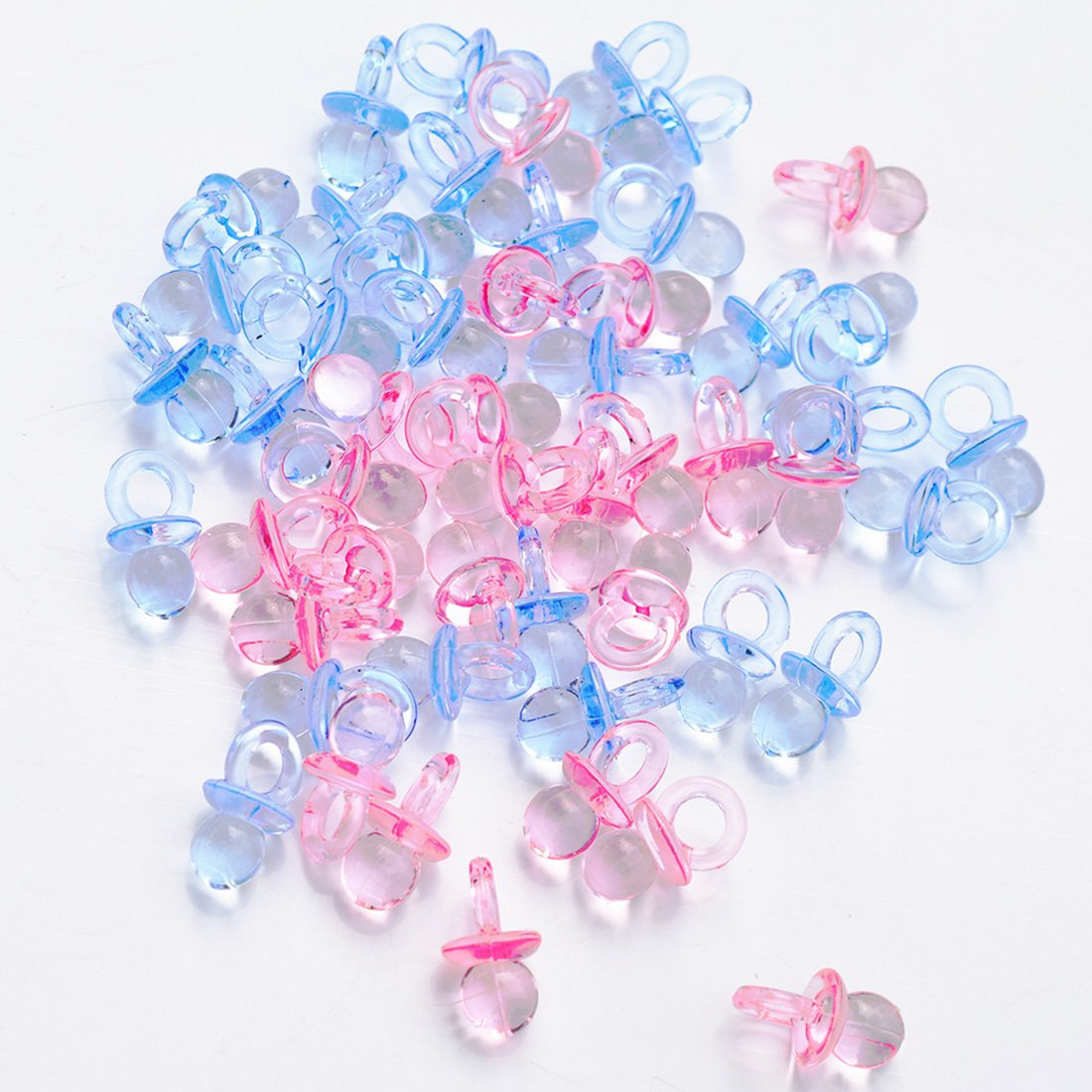 144 Pcs Mini Acrylic Pacifiers Table Scatter Confetti (Pink Blue Mixed)