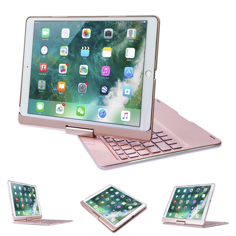 iPad Pro 10.5 Keyboard, NOVT 360 Degree Rotating Aluminum Shell iPad Case Hard Cover with Wireless Bluetooth Keyboard 7 Backlit Colors Smart Wake/Sleep for Apple iPad Pro 10.5 Inch 2017 (Rose Gold)
