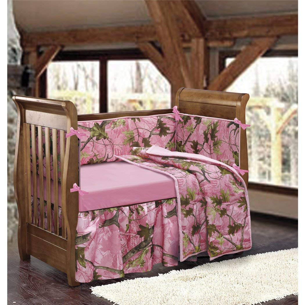 Pink Camo Crib Bedding Set for Girls, Cute Camouflage Hunting Themed Baby Nursery Collection, Leafy Oak Prints Forest Trees, Beautiful Design, Stylish & Pretty by OTS   B01DVUXSKY