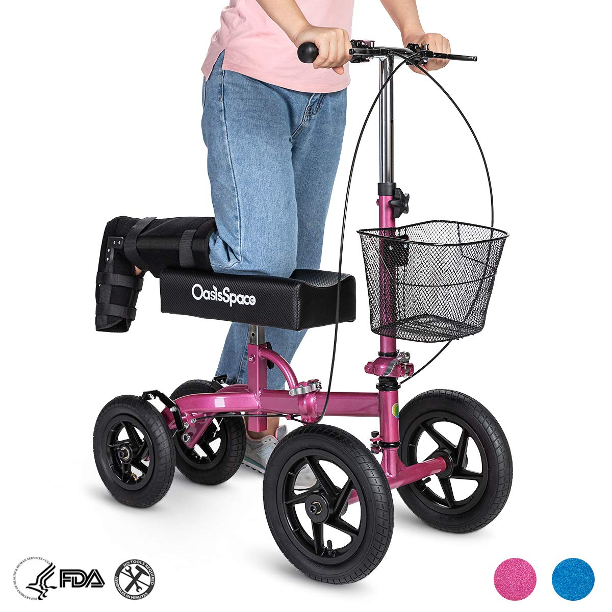 OasisSpace All Terrain Knee Scooter,with 12 inches Air Filled Wheels, Steerable Knee Walker Heavy Duty Crutches for Foot Injuries Ankles Surgery (Pink) by OasisSpace