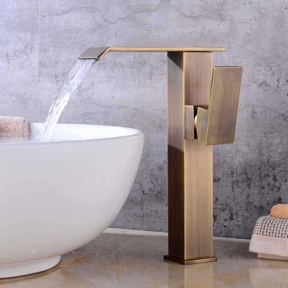 LHbox Prüfen Antiken Leder fällt Wasser kalt Wasser Keramik Ventil Einloch einzigen Griff Badezimmer Waschtisch Armatur
