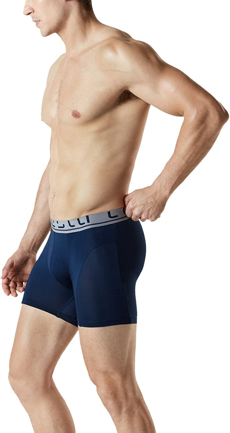 Relaxed Stretch 6 inches Cool Dry Brief Mesh Underwear Trunk Pack of 2, 3 TSLA Mens
