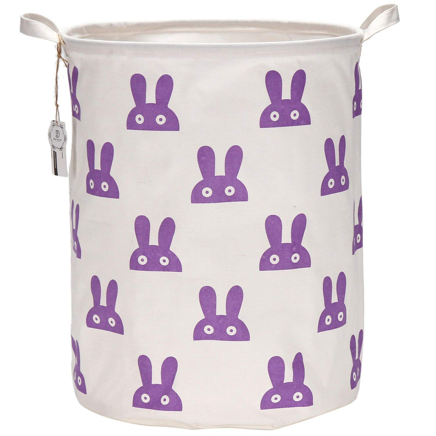 "Sea Team 19.7"" Large Sized Waterproof Coating Ramie Cotton Fabric Folding Laundry Hamper Bucket Cylindric Burlap Canvas Storage Basket with Cute Bunny Design (Purple)"