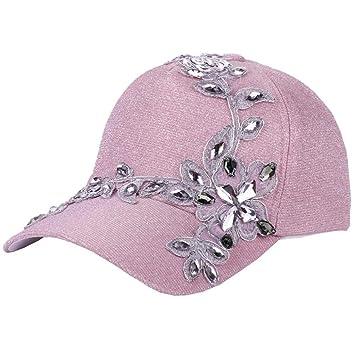 d1ea463e362 Amazon.com  Bling Rhinestone Lace Flower Baseball Hats for Women ...