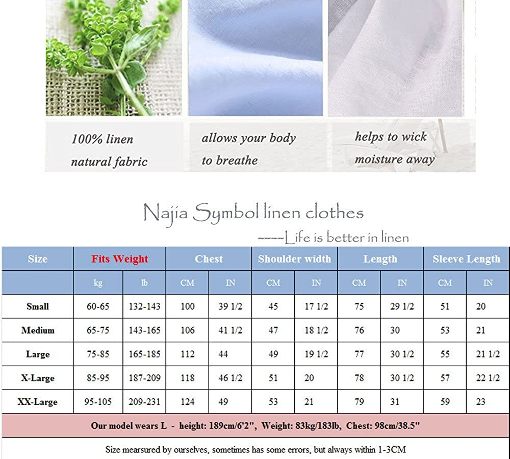 Najia Symbol Mens Casual Roll up Long Sleeve Solid 100/% Linen Shirt