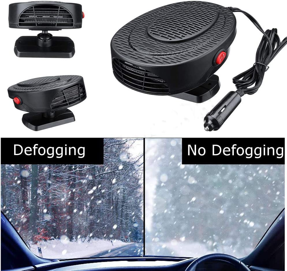 for Vehicle Trucks Home Office Table Black YunZyun Portable Heater for Car New Auto Car Heater Cooler Dryer Fan Portable Adjustable Defroster Demister 12V 50W