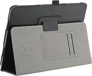 """StilGut Folio Case per Samsung Galaxy Tab S3 (9.7"""") con funzione supporto e presentazione, porta S Pen tasca per carte, tasca per memoria microSD e supporto per mano in nero"""