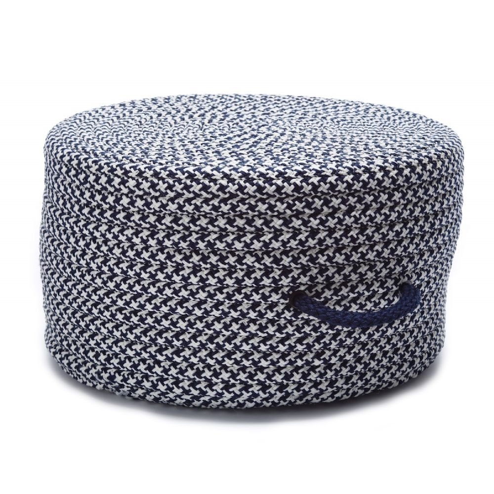 Colonial Mills Braided Round pouf/ottoman 20''x20''x11'' in Navy Color From Houndstooth Pouf Collection