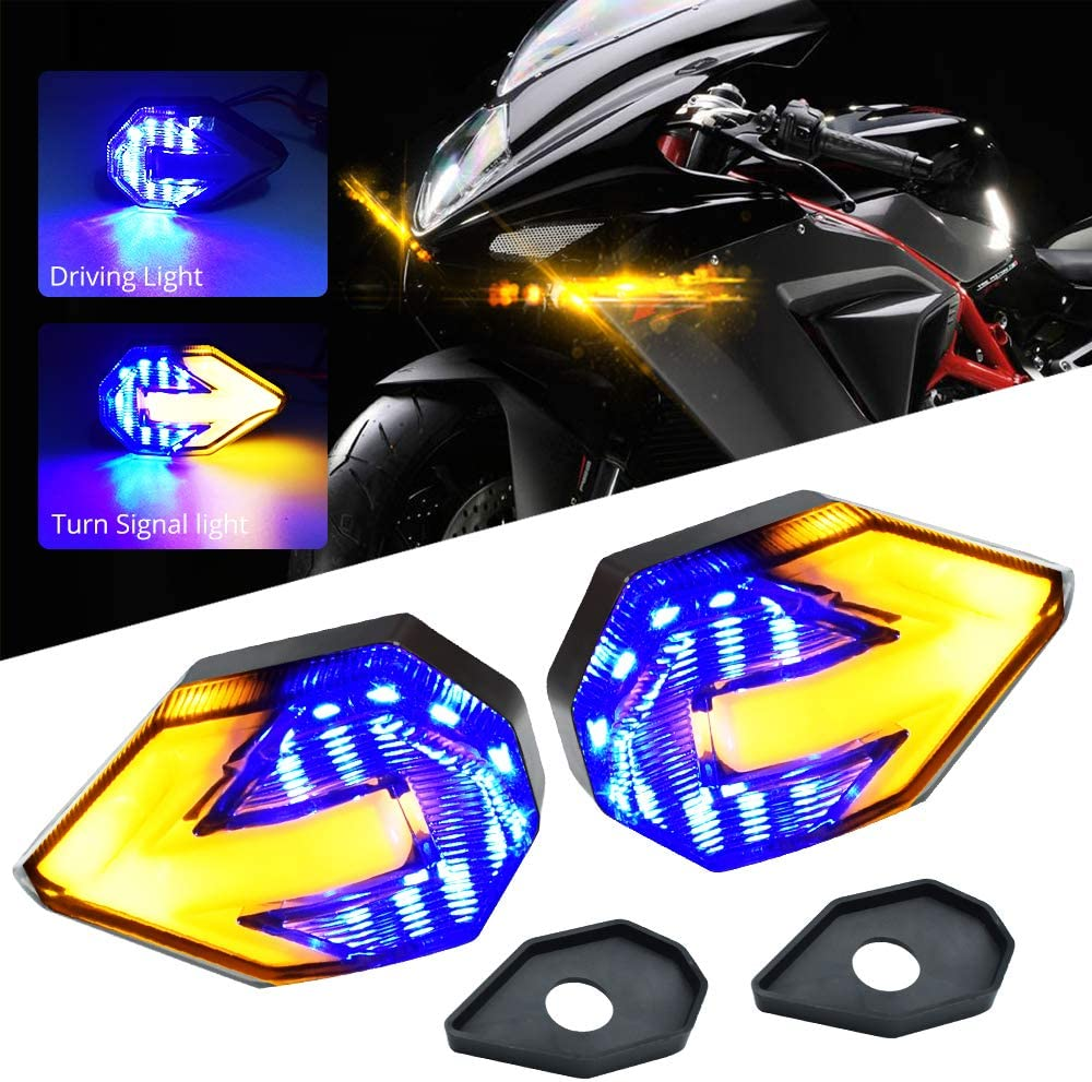 Red//Amber Motorcycle Turn Signal LED Lights 21 SMD LEDs Arrow Amber Bilnker /& Red DRL Brake LED Indicator Waterproof for Yamaha Suzuki Kawasaki Motorbike.2-Pack.