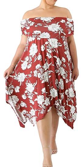 32a79650949e Plus Size Short Sleeve Off The Shoulder Floral Empire Waist Midi High Low  Hem Irregular Hem Swing Trapeze Maternity Dress at Amazon Women s Clothing  store