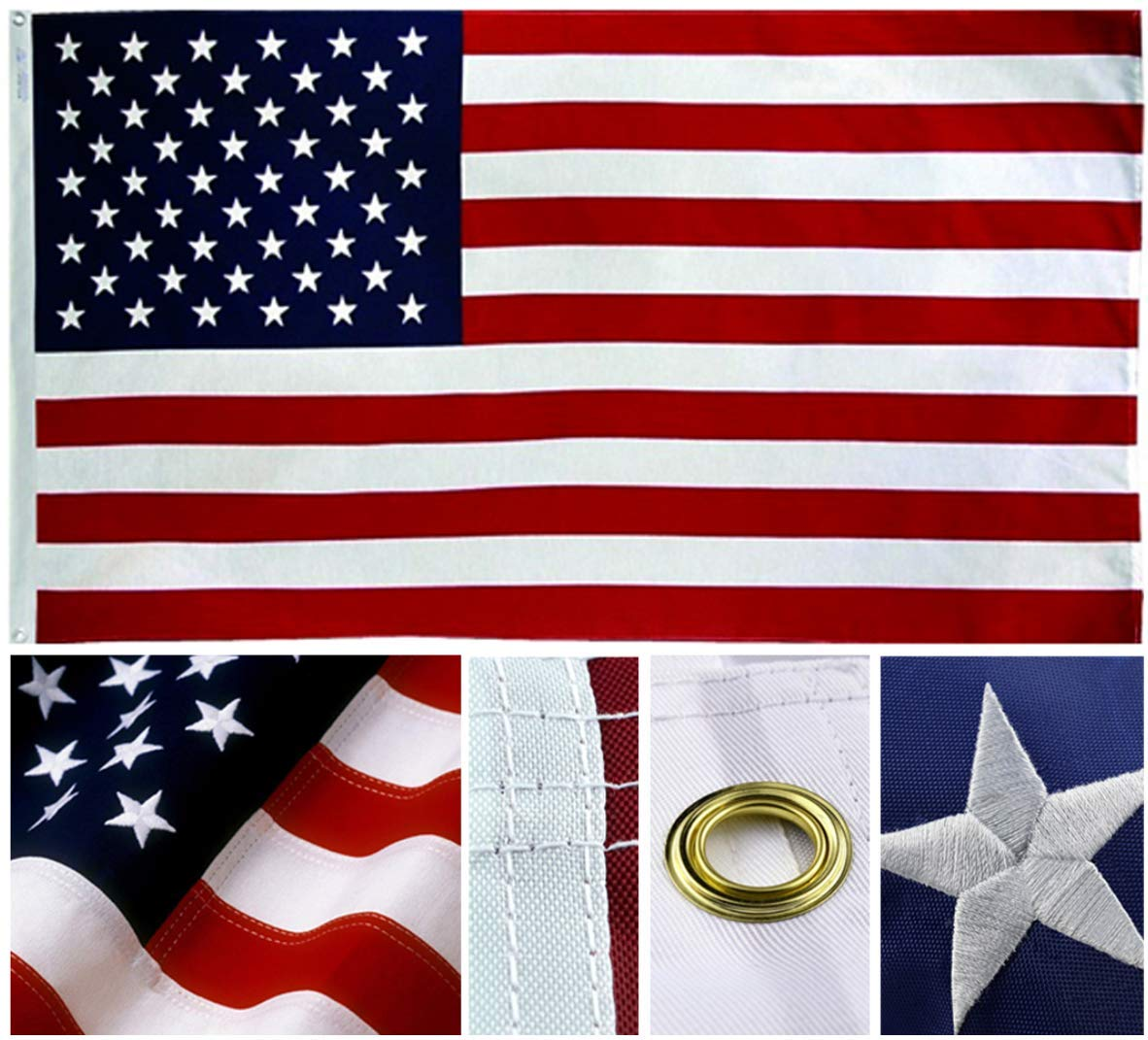 All Hardware Accessories Included Gong Home American Flag and Pole Kits 6 ft Flagpole + 3x5 ft Poly Flag