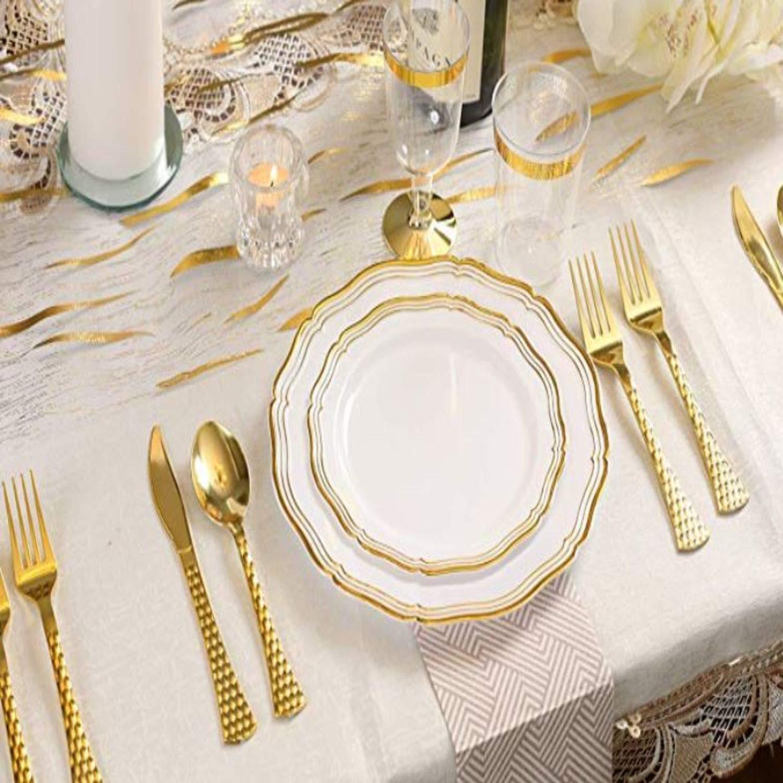 Decorline Couverts de Plastique jetables Argent m/étallis/és- Effet Glamour Set de Couvert Combo Pack 120 Pieces