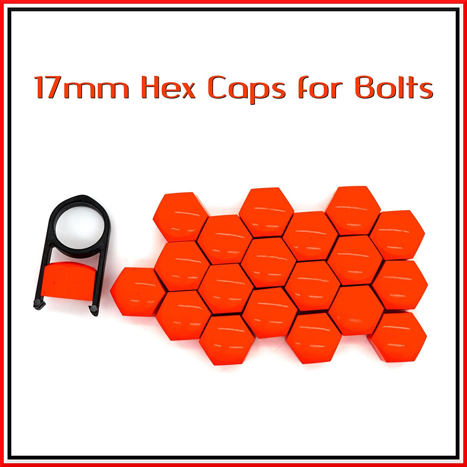 17mm Set 20 Red Car Caps Bolts Alloy Wheels For Nuts Covers ABS PC Plastic