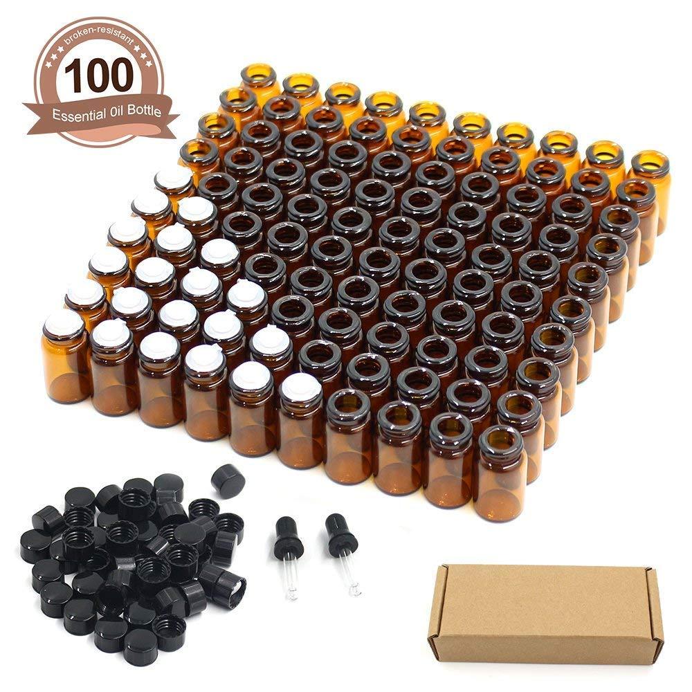 EEIEER 100 Stück Leere nachfüllbar Ölflaschen für Aromatherapie Körpermassage Amber Kleine Glasfläschchen Braune Flaschen fürmit Orifice Reducern und schwarzen Kappen, mit 2 Glastropfern (2 ml)