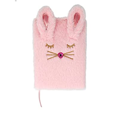 Bunny Kisses Fluffy Pink 7 x 5 Fabric and Paper Children's Diary with Bookmark: Toys & Games