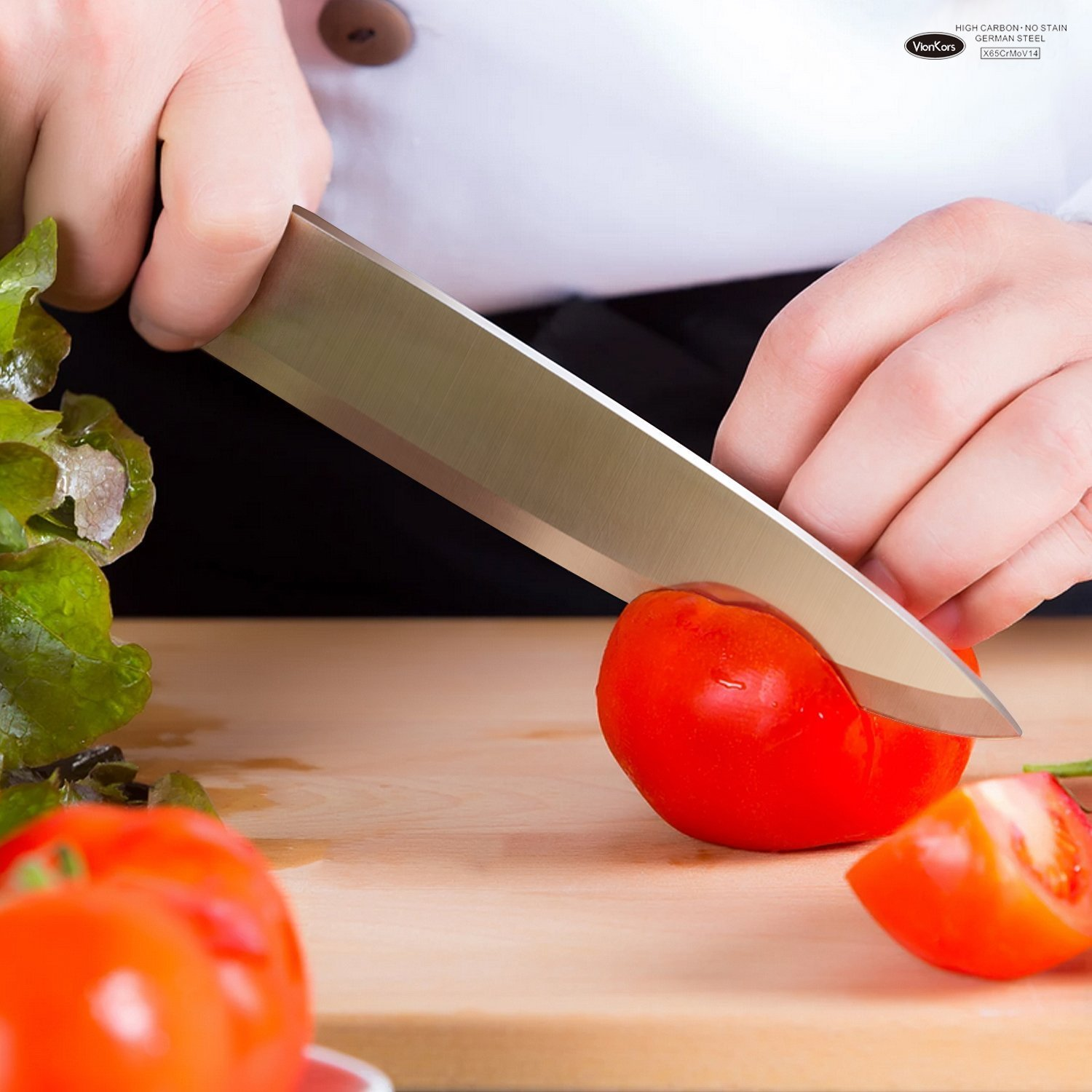Kitchen Knife 8 inches Chef Knife - VIANKORS pro German stainless steel sharp knives, Highly Recommended,Razor Sharp, Ergonomic handle, For home & restaurant by Viankors (Image #5)