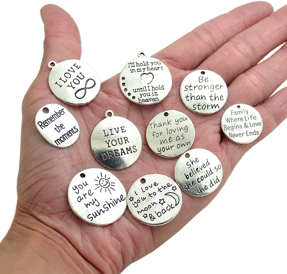 BronaGrand 10PCS 10 Words Antique Silver Charms Pendants for DIY Jewelry or Crafts