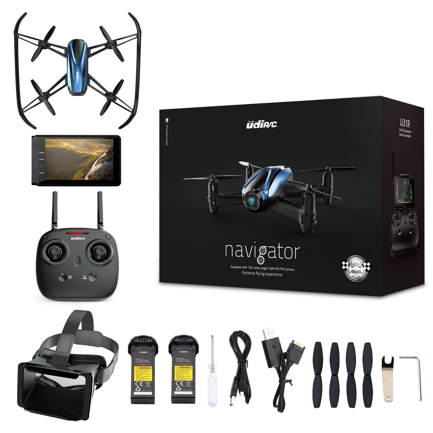Drone with VR Glasses, Potensic Quadcopter With 720P HD Live Camera RTF 4 Channel 5.8Ghz FPV LCD Screen Monitor 6-Gyro(360 Degree Flip) Headless Mode & Altitude Hold Function by Potensic
