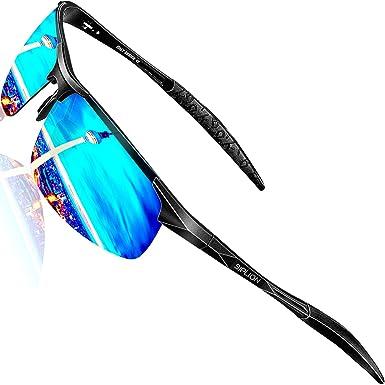 aabb5169ca SIPLION Men's Driving Polarized Sport Sunglasses Al-Mg Metal Frame Ultra  Light 8177 Blue