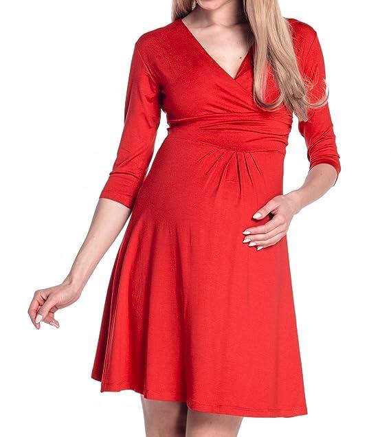 Mujer Vestido Skater acampanado premamá mangas 3/4. 282p (Rojo
