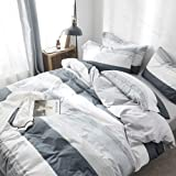 VClife Cotton Gray Blue White Queen Duvet Cover Sets - Boy Man Luxurious Chic Geometric Bedding Sets with Envelope Pillowcase