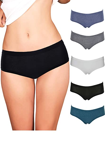 32d7ef5be94f Emprella Womens Underwear Boyshort Panties Cotton/Spandex - 5 Pack Colors  and Patterns May Vary