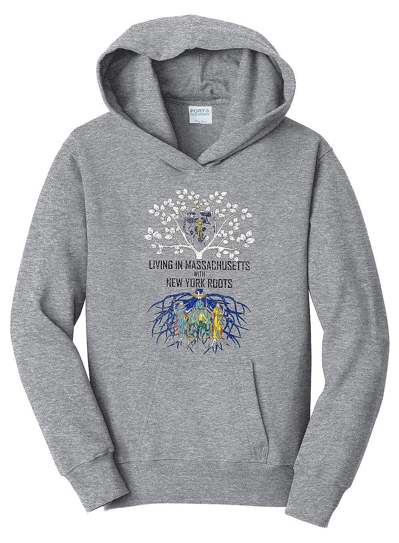Tenacitee Girls Living in Massachusetts with New York Roots Hooded Sweatshirt