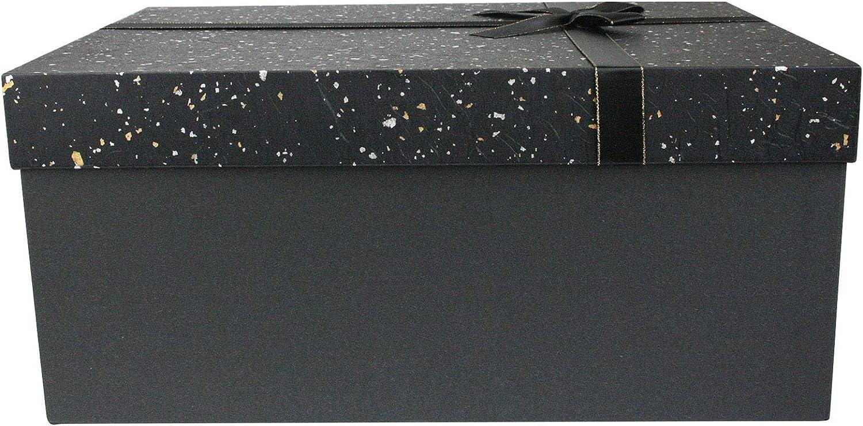 Int/érieur Brun Chocolat et Ruban de Satin Emartbuy Luxe Rigide Bo/îte-Cadeau de Pr/ésentation en Forme de Rectangle 33 cm x 23 cm x 13,5 cm Bo/îte Gris Fonc/é Avec Couvercle Mouchet/é Argent Gris Or