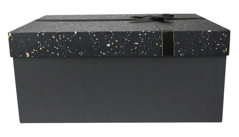 Schokoladenbrauner Innenraum Und Gold Satinband Emartbuy Starrer Luxus Geschenkbox in Rechteckiger Form Schwarze Box Mit Schwarz Und Gold Silber Gesprenkeltem Deckel 35 cm x 25 cm x 15 cm