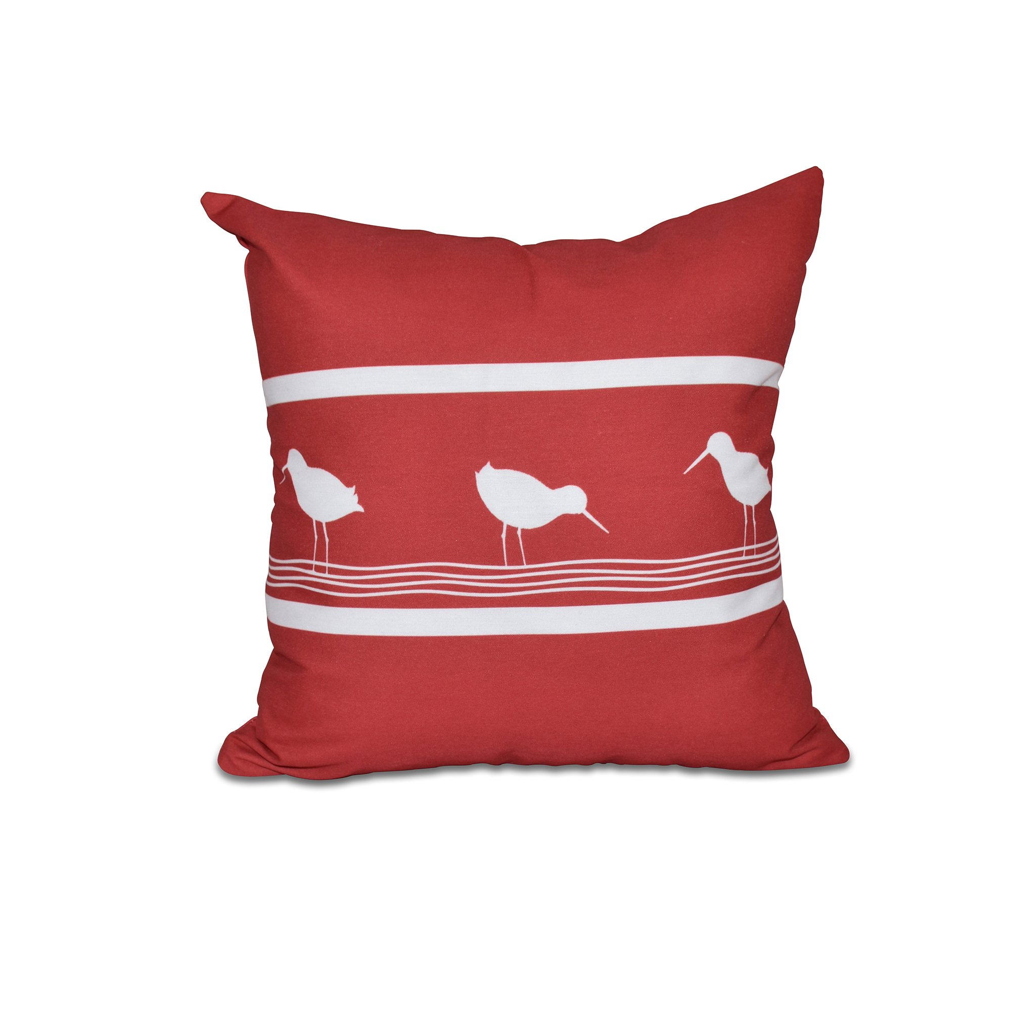 E by design 20 x 20-inch, Birdwalk, Animal Print Pillow, Red by E by design (Image #1)