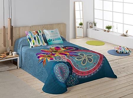 NATURALS Ariana Colcha, algodón, Azul/Multicolor, Cama 90 (180 x ...