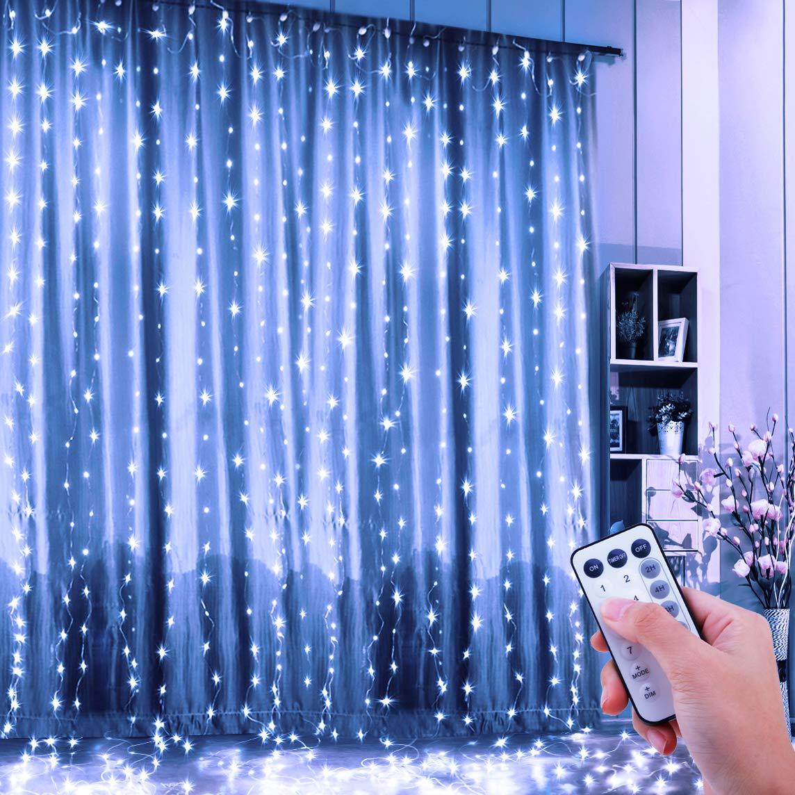 Guirlande Rideau Lumineux, FishOaky Bright Guirlande Lumineuse LED 3m * 3m, 8 Modes, 300 LED, USB Lampe d'ambiance à Lumière,Pour la Décoration Rideaux Fenêtre Terrasse Mariage Fenêtre USB Lampe d'ambiance à Lumière