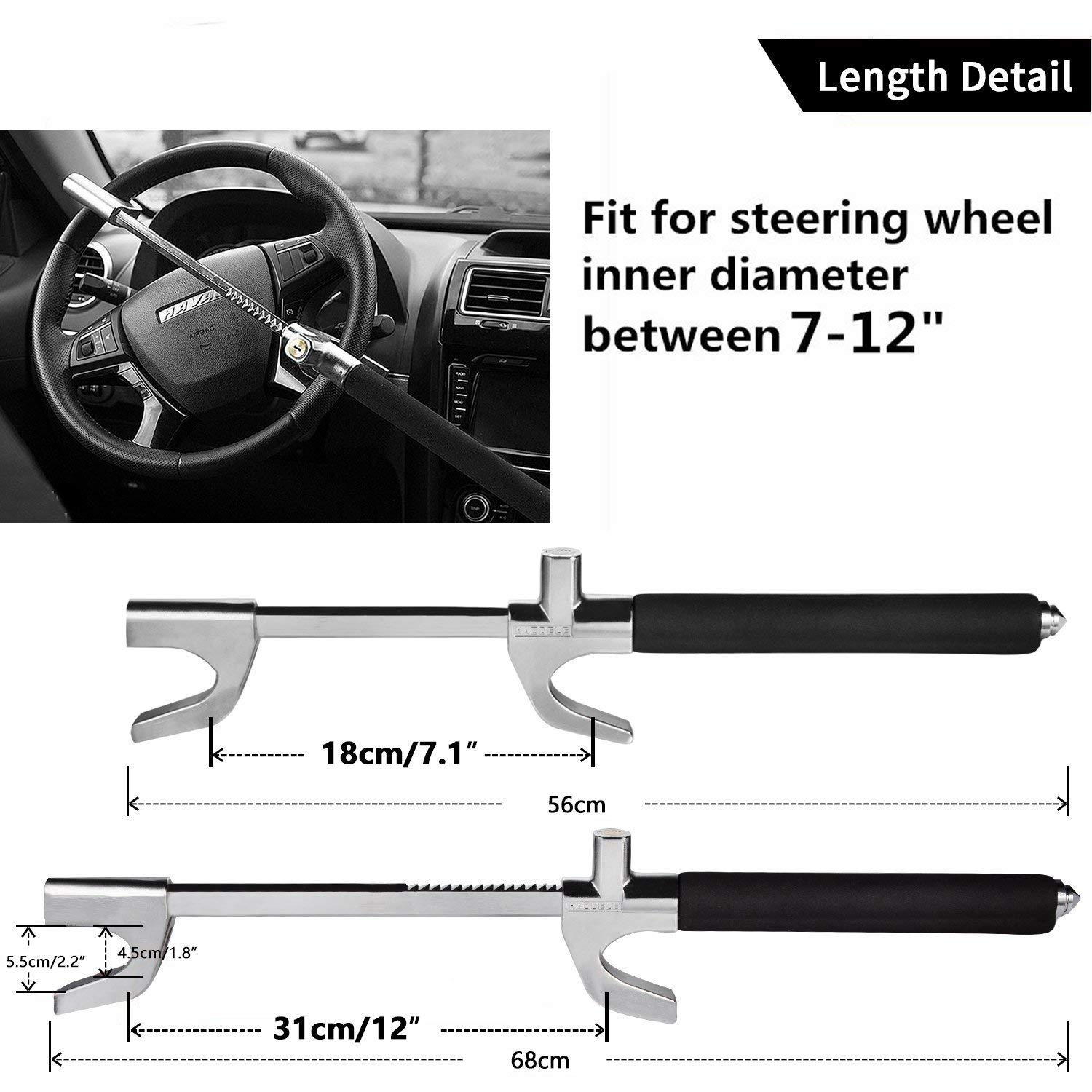 Steering Wheel Lock Universal Anti-Theft Clamp Heavy Duty Vehicle Safety Rotary Adjustable Lock Self-Defense with 3 Keys Black HAODELE