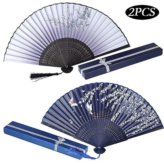 2er Set Japanisch Fächer mit Geschenkbox Handfächer Damen Faltfächer Japanisch Chinesisch Fächer Bambus Wandfächer Schmetterl