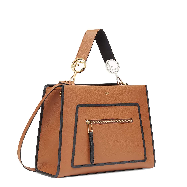 7c7df4ad8c2 Fendi Shopping Bag Runaway Calf Leather Brown with Black Trim Handbag  8BH343: Handbags: Amazon.com