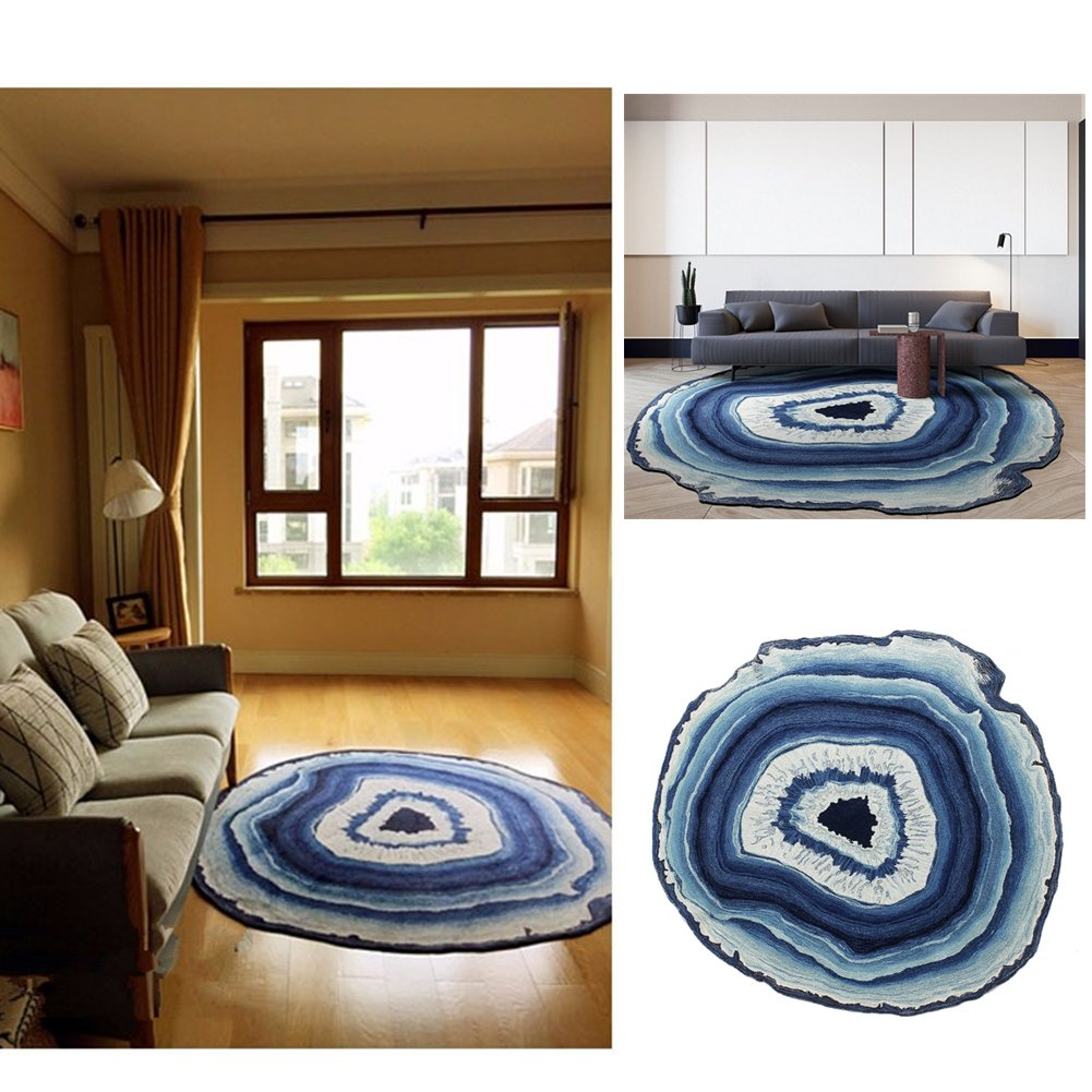 "Creative Round Area Rug Floor Mat Rural Style Design Bedroom Rug Modern Simple Bedside Rugs Living Room Fashion Decoration Carpet (Diameter 47.2""/120cm  Blue) FOHOMA Area Rugs"