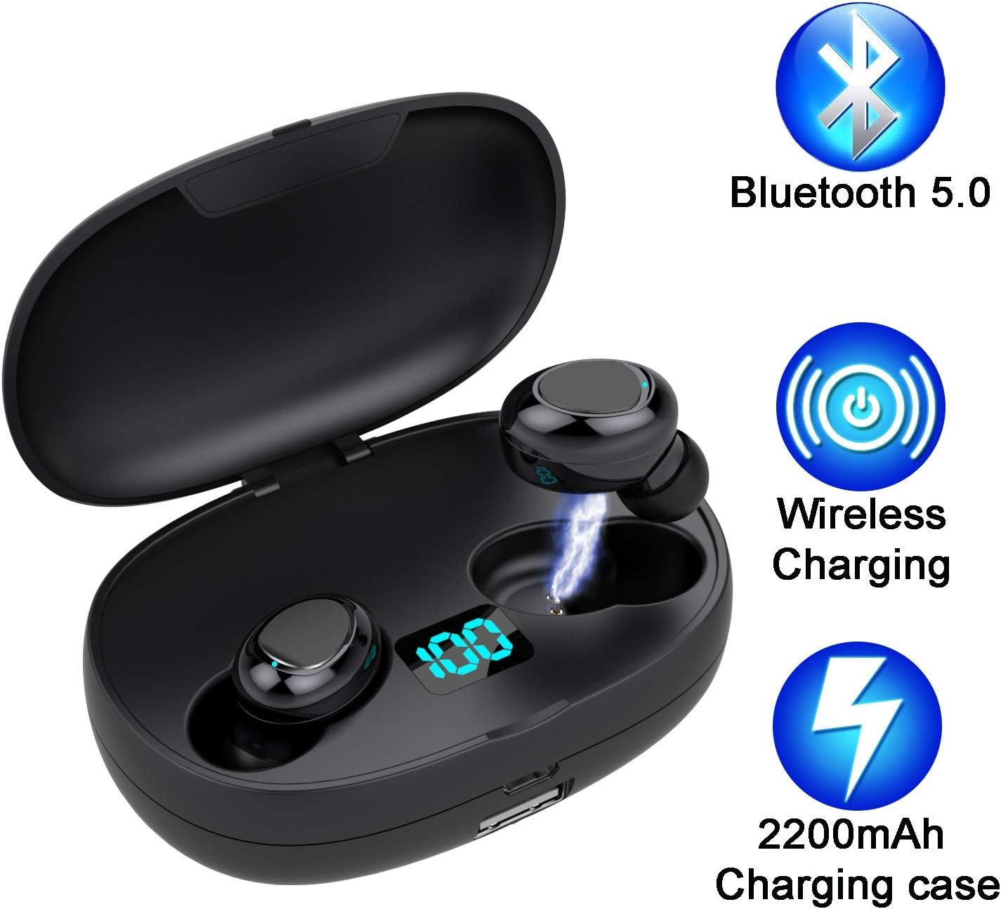 Auriculares Bluetooth 5.0 de Hasta 50 Horas de Reproducción, Sonido Estéreo de Graves Profundos, Cancelación de Ruido Avanzada, Auriculares Inalámbricos con Estuche de Carga Inalámbrico de 2200 mAh