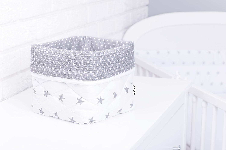 Ami Lian Storage Box Basket Approx 20/x 20/x 20/cm Plastic Organizer Diaper dispenser L Stars White A3