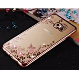 Samsung Galaxy S6 edge - Shockproof Silicone Soft TPU Transparent Auora Flower Case with Sparkle Swarovski Crystals for Samsung Galaxy S6 edge Back Cover (Pink Flower)