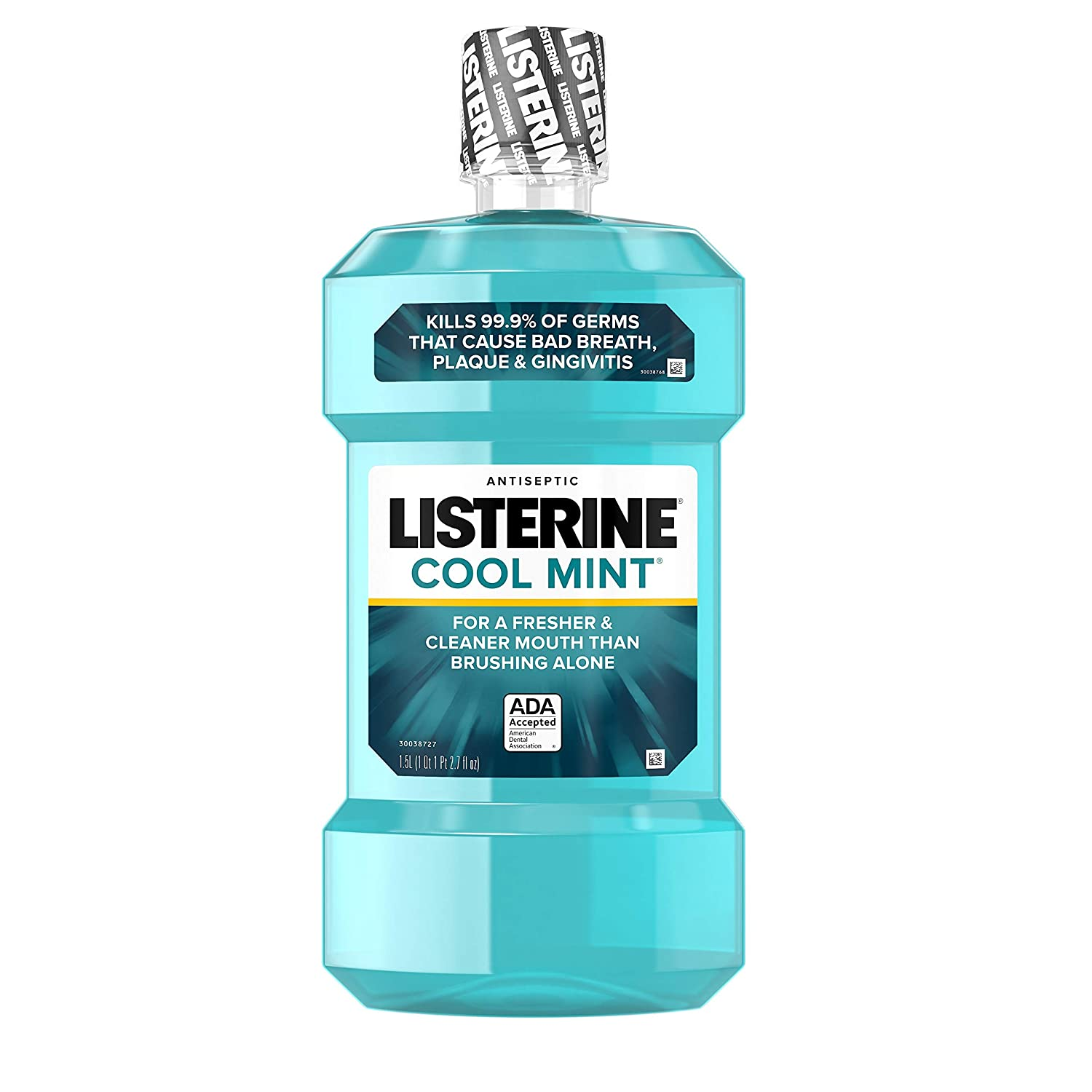 Listerine Cool Mint Antiseptic Mouthwash to Kill 99% of Germs that Cause Bad Breath, Plaque and Gingivitis, Cool Mint Flavor, 1.5 L