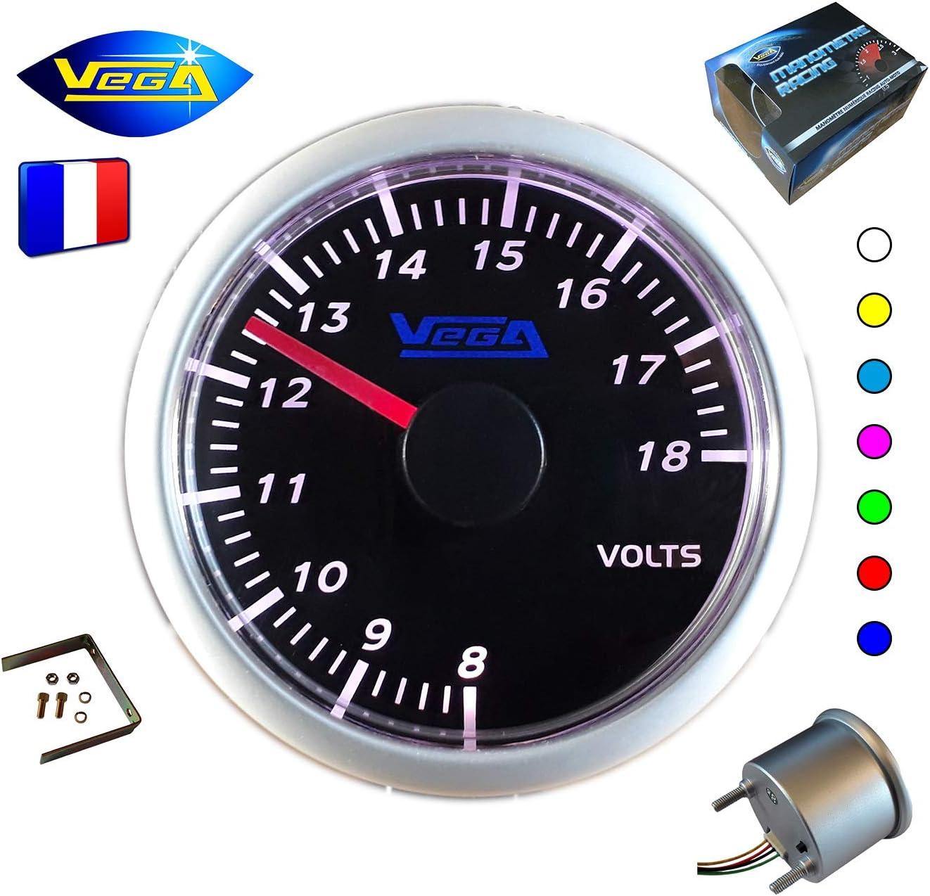 VEGA Manom/ètre Voltm/ètre 8 /à 18V Affichage 7 Couleurs Changement Tactile 52 mm Marque Fran/çaise
