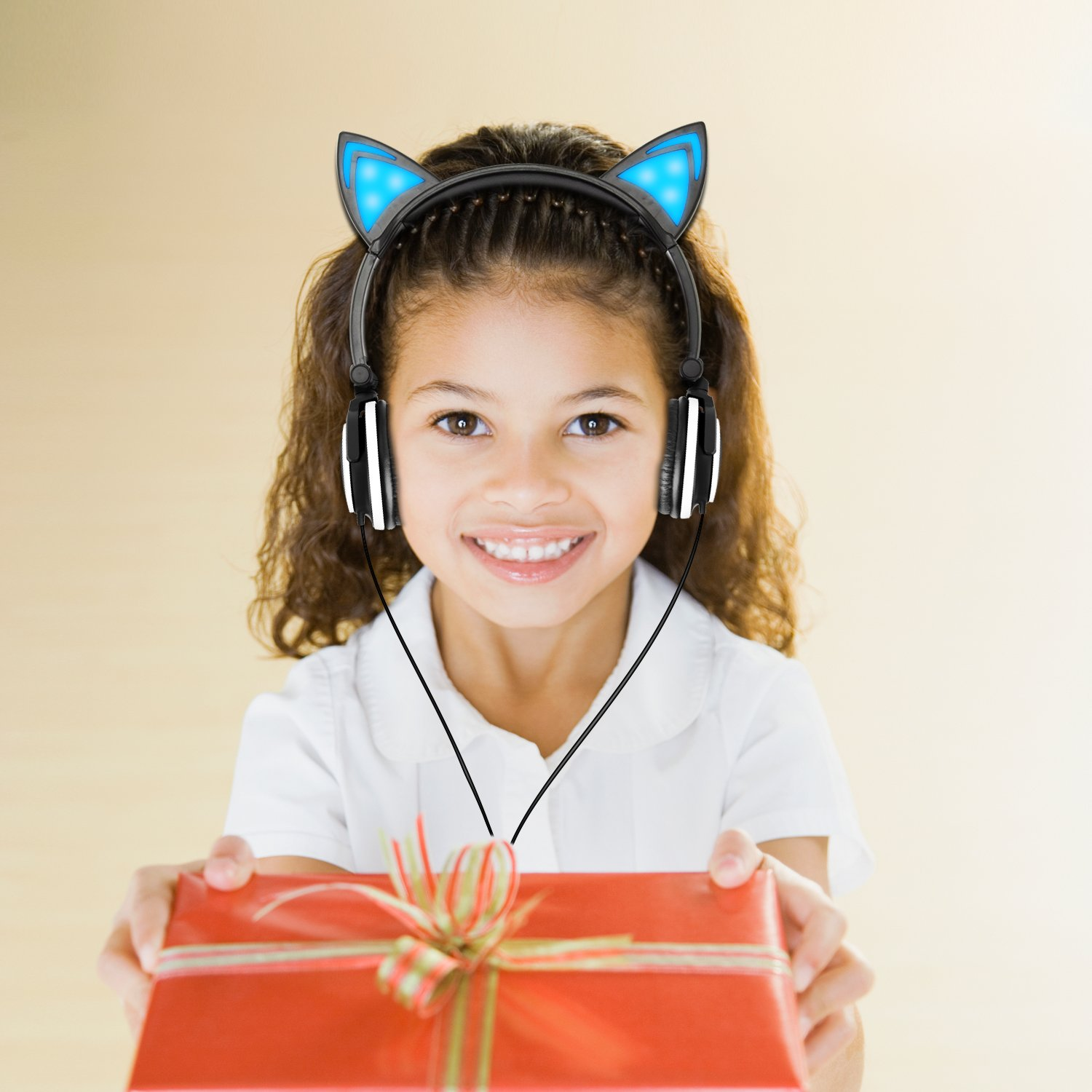Lobkin Cat Ear Headphone, Foldable Wired Over Ear Kids Headphone with Glowing Light for Girls Children,Compatible for iPhone and Other Android Phones (Black)
