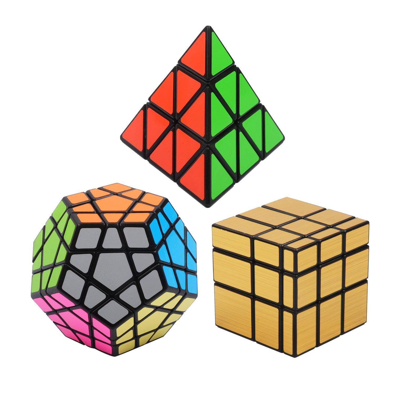 Vdealen Cubo mágico Puzzle Pack Pyraminx Megaminx Silver Mirror xx